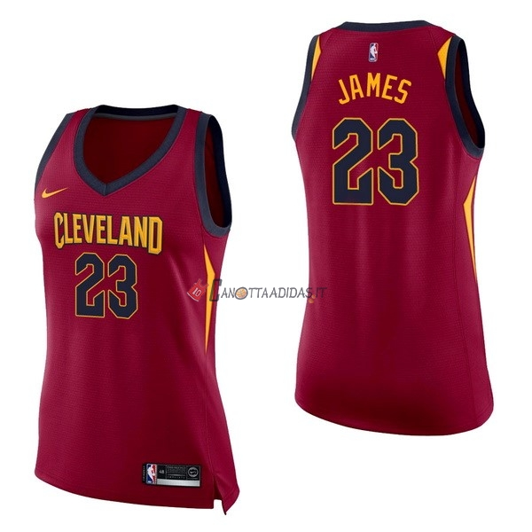 Hot- Maglia NBA Donna Cleveland Cavaliers NO.23 LeBron James Rosso Icon