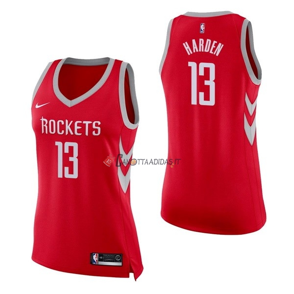 Hot- Maglia NBA Donna Houston Rockets NO.13 James Harden Rosso Icon