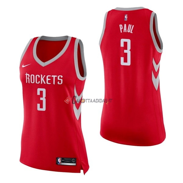 Hot- Maglia NBA Donna Houston Rockets NO.3 Chris Paul Rosso Icon