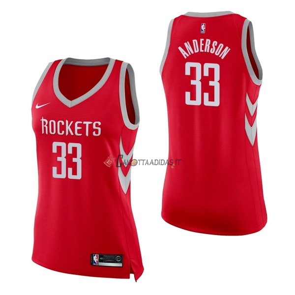 Hot- Maglia NBA Donna Houston Rockets NO.33 Ryan Anderson Rosso Icon
