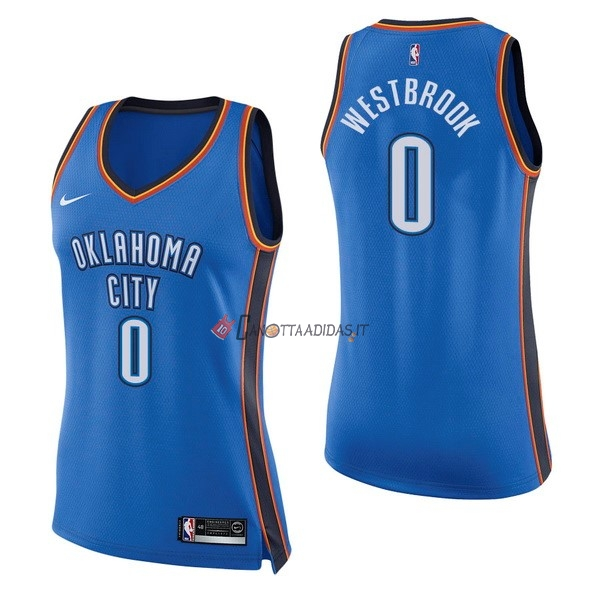 Hot- Maglia NBA Donna Oklahoma City Thunder NO.0 Russell Westbrook Blu Icon