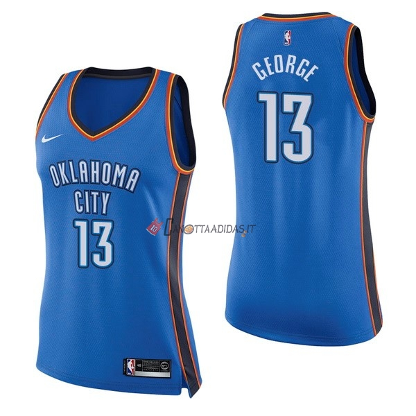 Hot- Maglia NBA Donna Oklahoma City Thunder NO.13 Paul George Blu Icon