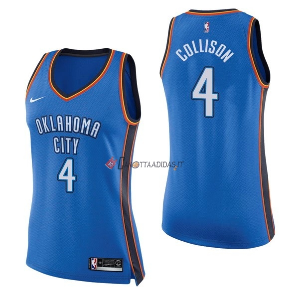 Hot- Maglia NBA Donna Oklahoma City Thunder NO.4 Nick Collison Blu Icon