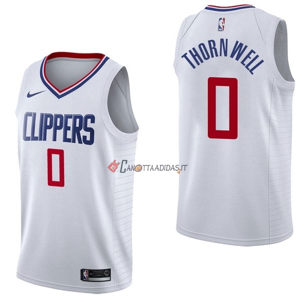 Hot- Maglia NBA Nike Los Angeles Clippers NO.0 Sindarius Thornwell Bianco Association