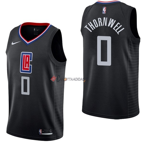 Hot- Maglia NBA Nike Los Angeles Clippers NO.0 Sindarius Thornwell Nero Statement