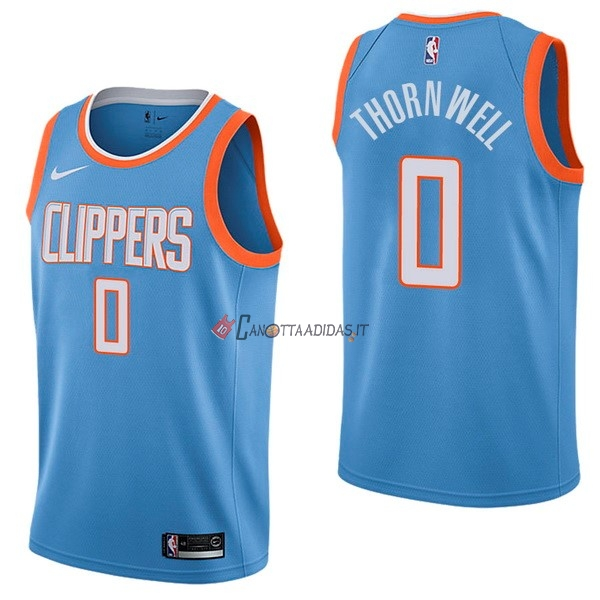 Hot- Maglia NBA Nike Los Angeles Clippers NO.0 Sindarius Thornwell Nike Blu Città