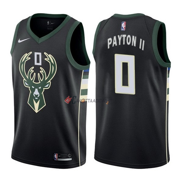 Hot- Maglia NBA Nike Milwaukee Bucks NO.0 Gary Payton II Nero Statement