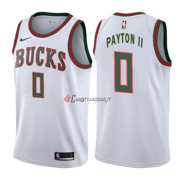 Hot- Maglia NBA Nike Milwaukee Bucks NO.0 Gary Payton II Retro Bianco