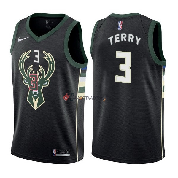 Hot- Maglia NBA Nike Milwaukee Bucks NO.3 Jason Terry Nero Statement
