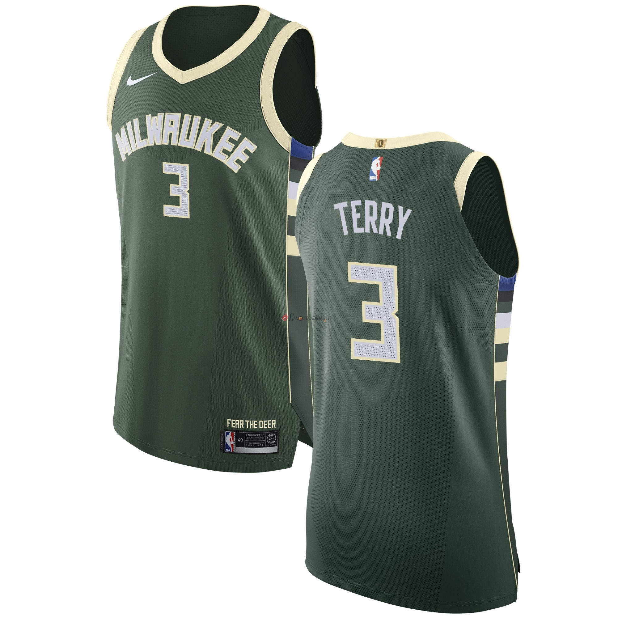 Hot- Maglia NBA Nike Milwaukee Bucks NO.3 Jason Terry Verde Icon