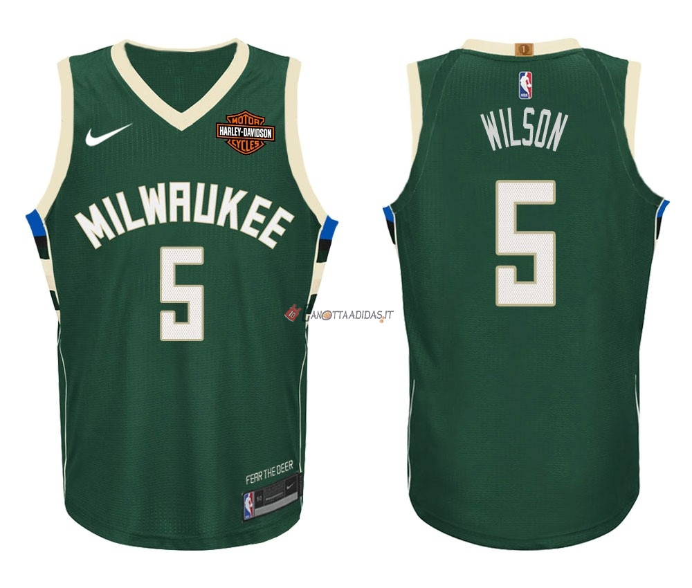 Hot- Maglia NBA Nike Milwaukee Bucks NO.5 D.J. Wilson Verde