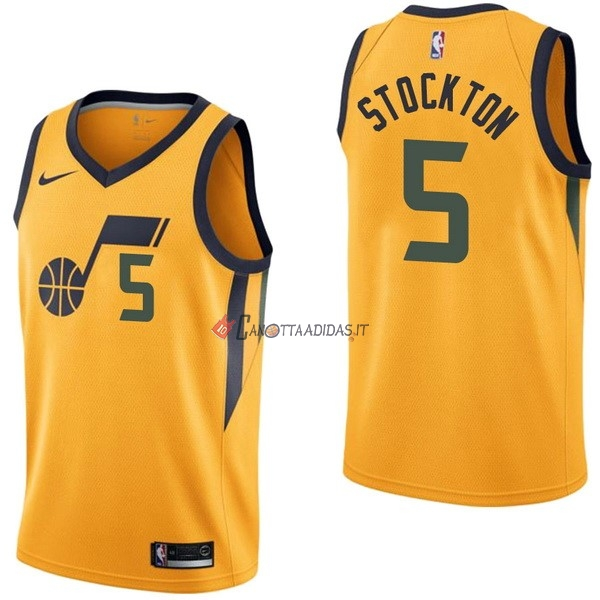 Hot- Maglia NBA Nike Utah Jazz NO.5 David Stockton Giallo Statement