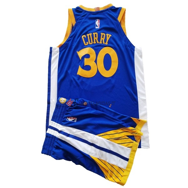 Hot- Maglia NBA Set Completo Bambino Golden State Warriors NO.30 Stephen Curry Blu 2017-18