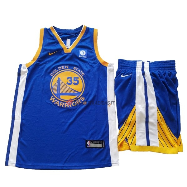 Hot- Maglia NBA Set Completo Bambino Golden State Warriors NO.35 Kevin Durant Blu 2017-18