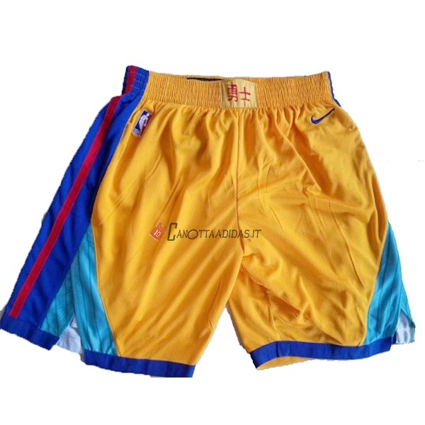Hot- Pantaloni Basket Golden State Warriors Nike Giallo
