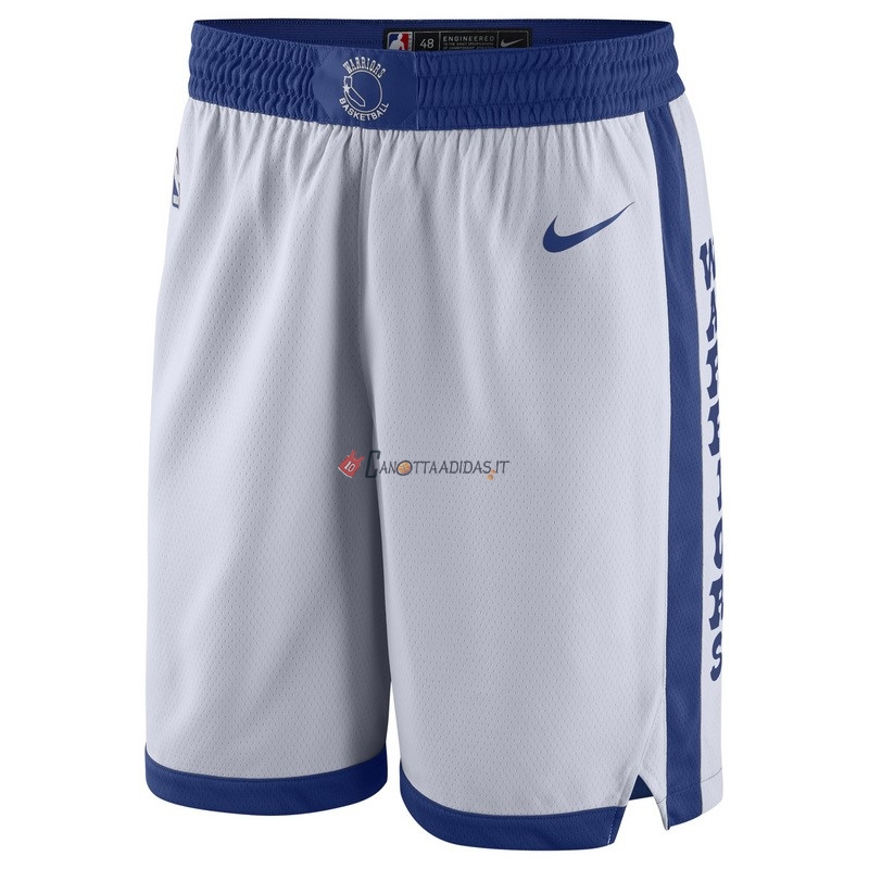 Hot- Pantaloni Basket Golden State Warriors Nike Retro Bianco