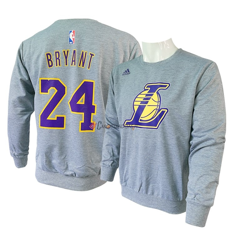Hot- T-Shirt Los Angeles Lakers Maniche Lunghe NO.24 Kobe Bryant Grigio