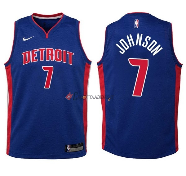 Hot- Maglia NBA Bambino Detroit Pistons NO.7 Stanley Johnson Blu Icon