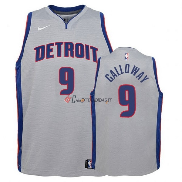 Hot- Maglia NBA Bambino Detroit Pistons NO.9 Langston Galloway Grigio Statement