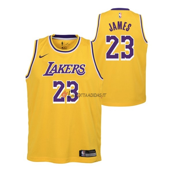 Hot- Maglia NBA Bambino Los Angeles Lakers NO.23 Lebron James Giallo Icon 2018-19