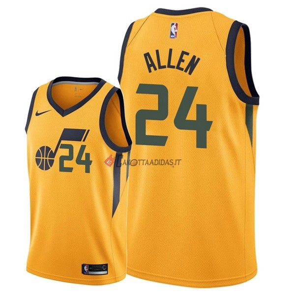 Hot- Maglia NBA Nike Utah Jazz NO.24 Grayson Allen Giallo Statement 2018