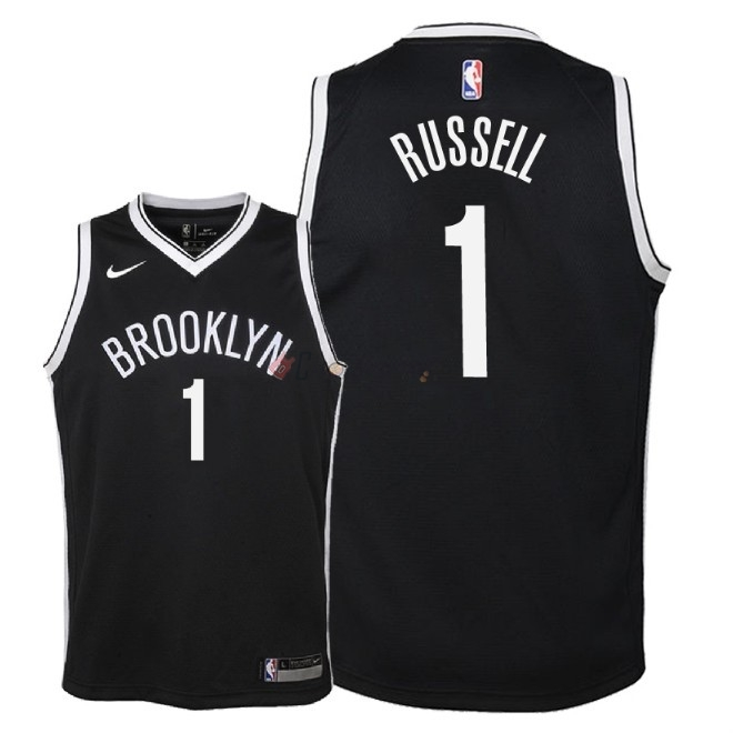 Hot- Maglia NBA Bambino Brooklyn Nets NO.1 D'Angelo Russell Nero Icon 2018