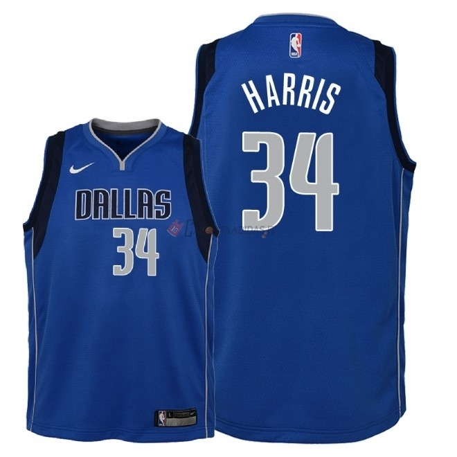 Hot- Maglia NBA Bambino Dallas Mavericks NO.34 Devin Harris Blu Icon 2018
