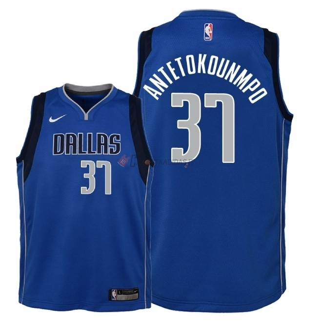 Hot- Maglia NBA Bambino Dallas Mavericks NO.37 Kostas Antetokounmpo Blu Icon 2018