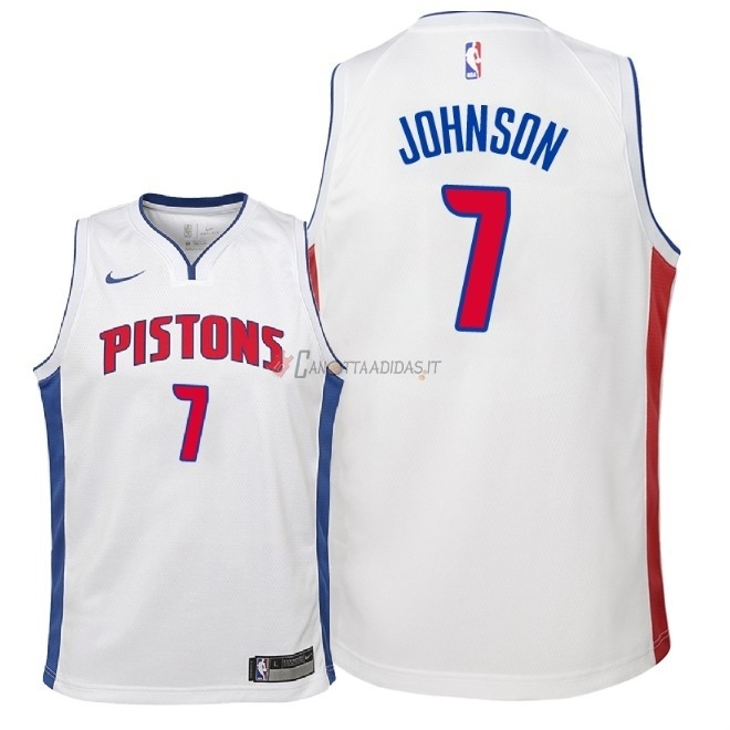 Hot- Maglia NBA Bambino Detroit Pistons NO.7 Stanley Johnson Bianco Association 2018