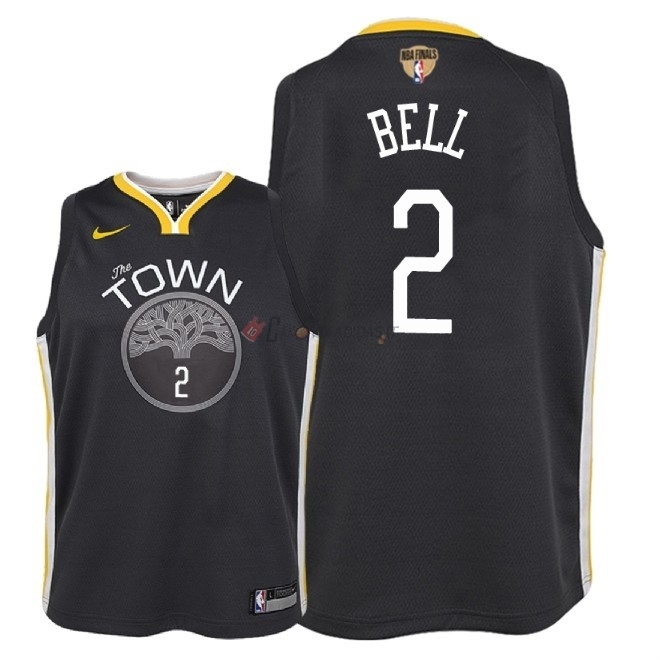 Hot- Maglia NBA Bambino Golden State Warriors Finale Campioni 2018 NO.2 Jordan Bell Nero Statement Patch