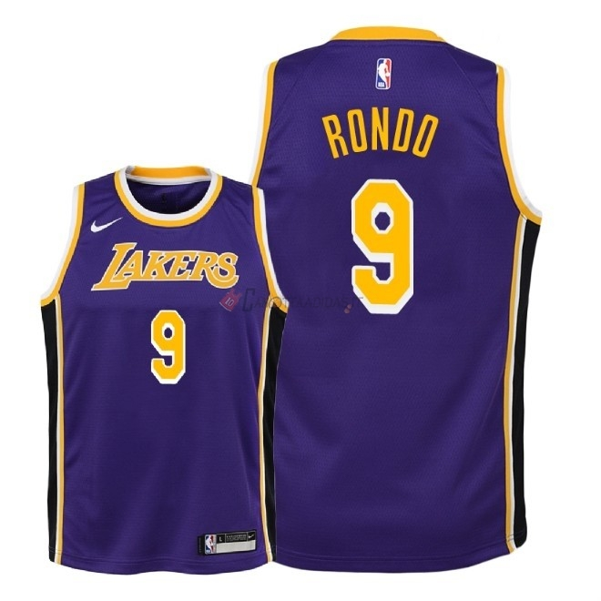 Hot- Maglia NBA Bambino L.A.Lakers NO.9 Rajon Rondo Porpora Statement 2018-19