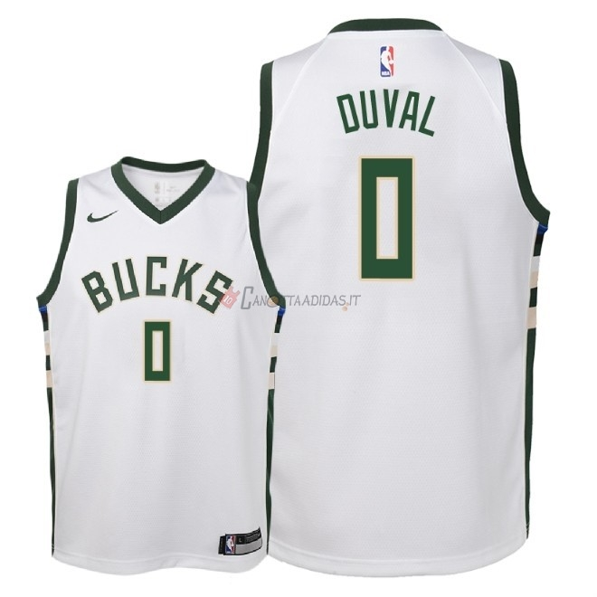 Hot- Maglia NBA Bambino Milwaukee Bucks NO.0 Trevon Duval Bianco Association 2018-19
