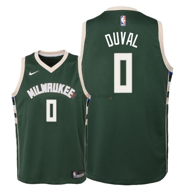 Hot- Maglia NBA Bambino Milwaukee Bucks NO.0 Trevon Duval Verde Icon 2018-19