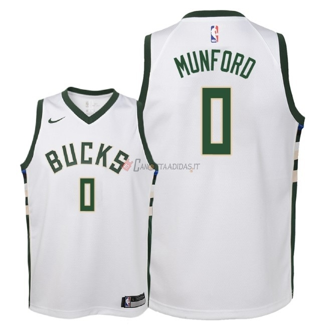 Hot- Maglia NBA Bambino Milwaukee Bucks NO.0 Xavier Munford Bianco Association 2018