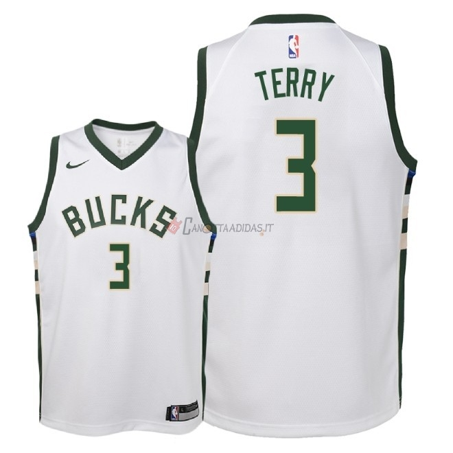 Hot- Maglia NBA Bambino Milwaukee Bucks NO.3 Jason Terry Bianco Association 2018