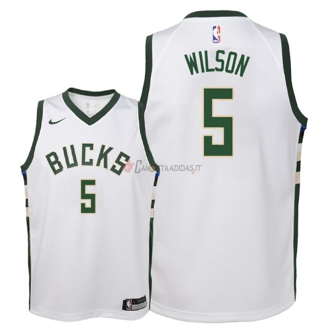 Hot- Maglia NBA Bambino Milwaukee Bucks NO.5 D.J. Wilson Bianco Association 2018