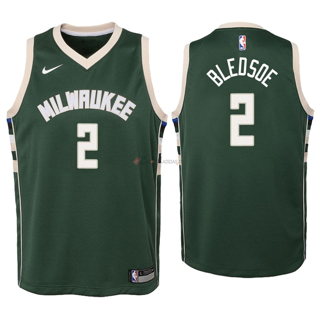 Hot- Maglia NBA Bambino Milwaukee Bucks NO.6 Eric Bledsoe Verde Icon 2018