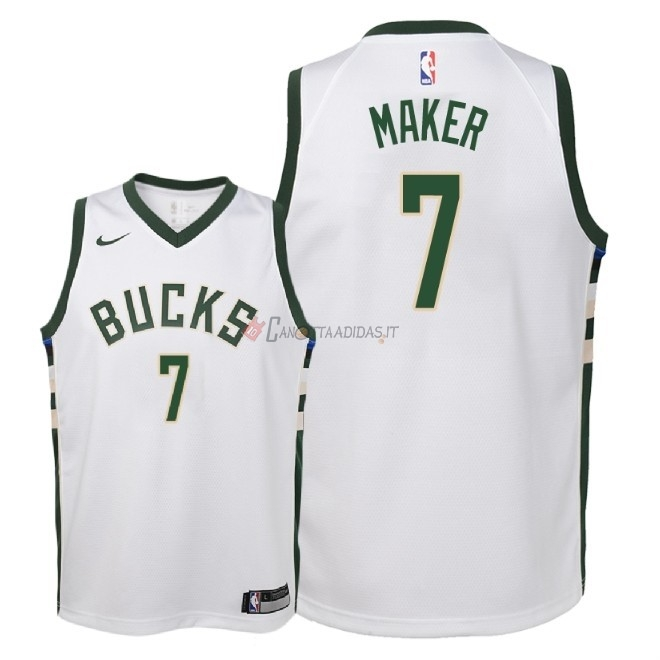 Hot- Maglia NBA Bambino Milwaukee Bucks NO.7 Thon Maker Bianco Association 2018