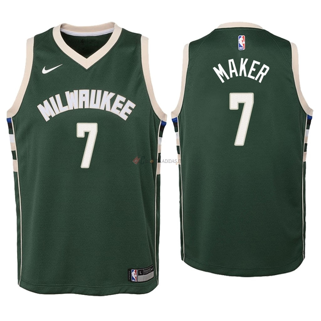Hot- Maglia NBA Bambino Milwaukee Bucks NO.7 Thon Maker Verde Icon 2018