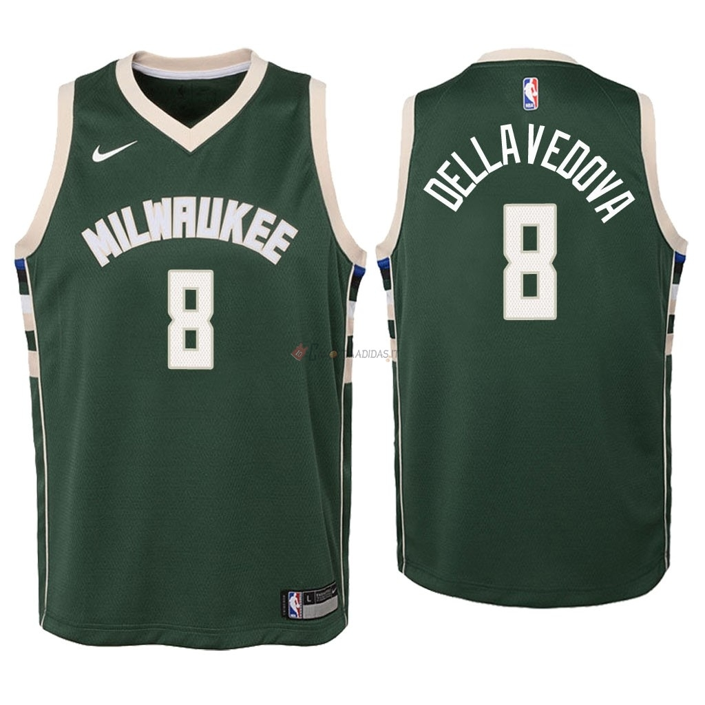 Hot- Maglia NBA Bambino Milwaukee Bucks NO.8 Matthew Dellavedova Verde Icon 2018