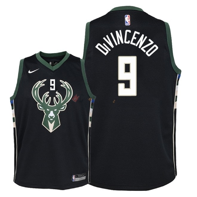 Hot- Maglia NBA Bambino Milwaukee Bucks NO.9 Donte DiVincenzo Nero Statement 2018