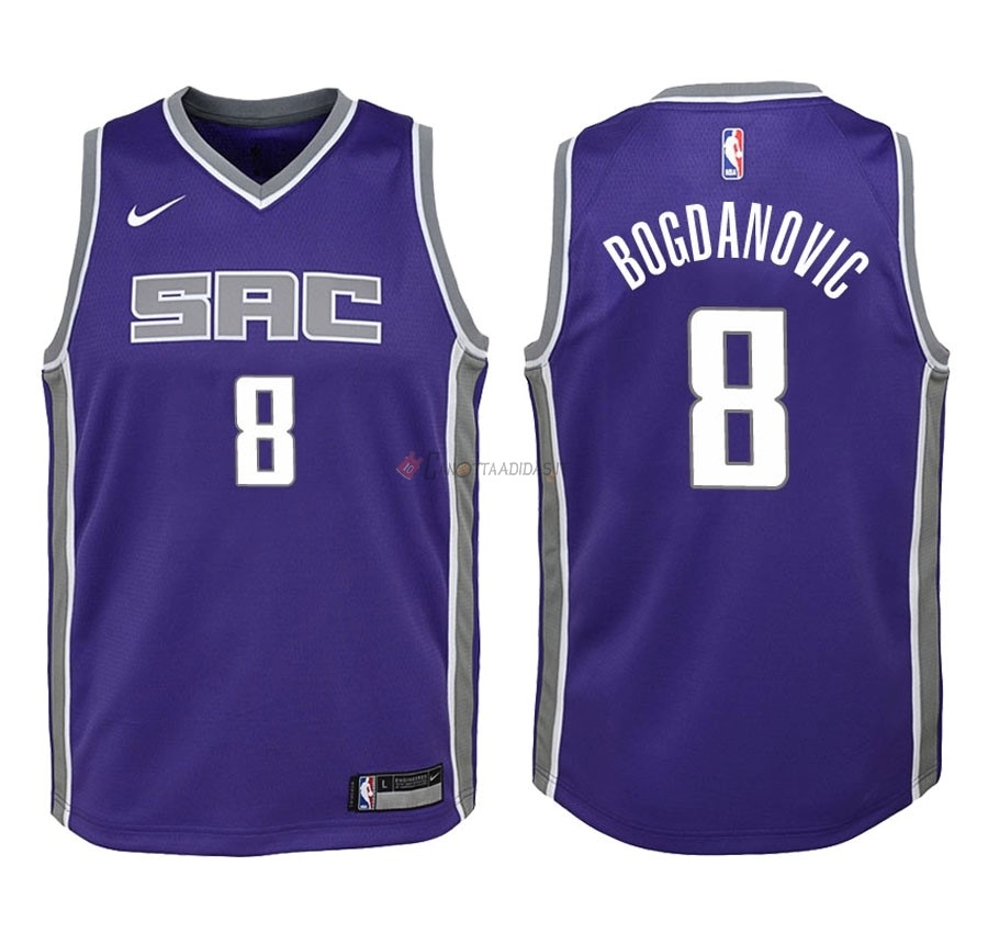 Hot- Maglia NBA Bambino Sacramento Kings NO.8 Bogdan Bogdanovic Porpora Icon 2018