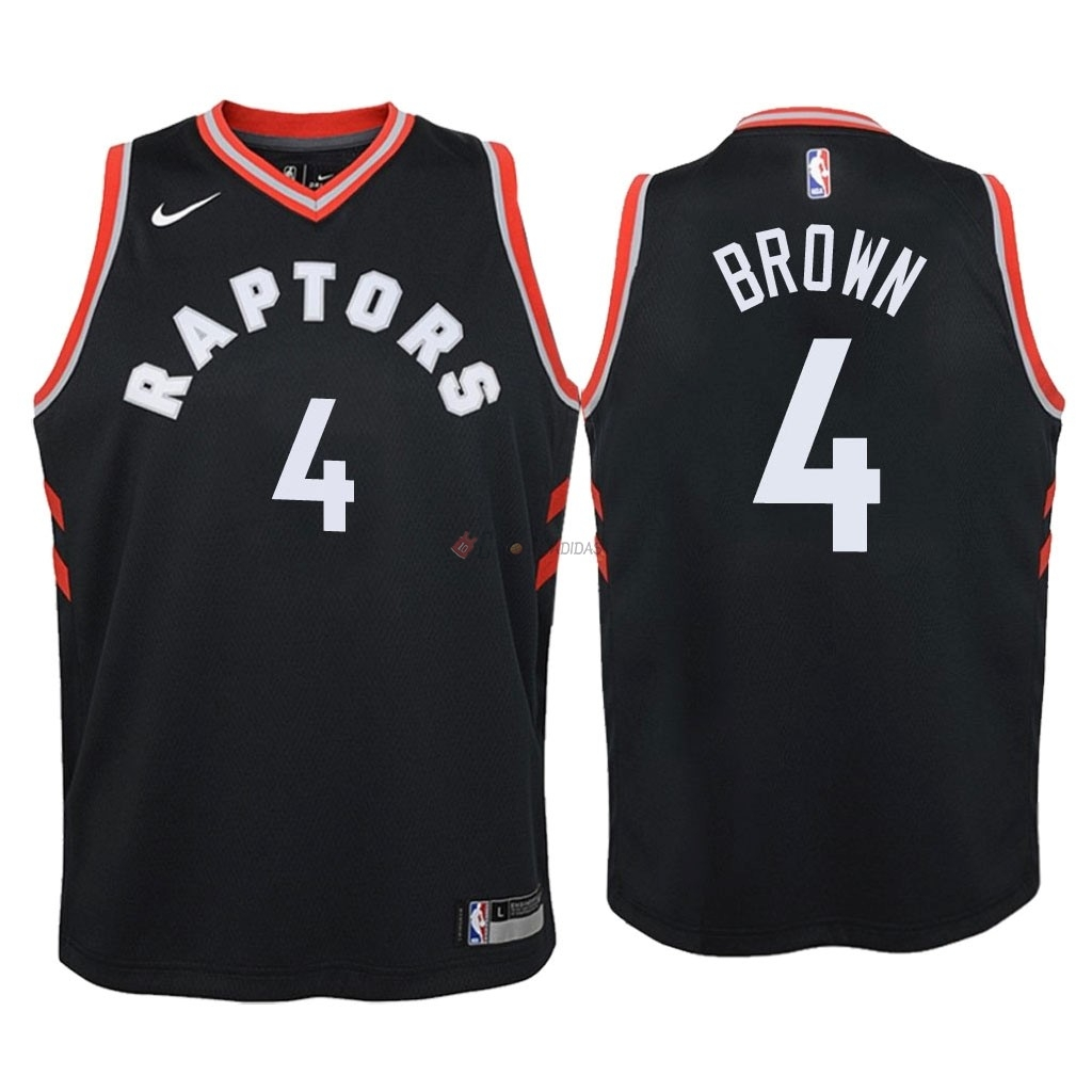 Hot- Maglia NBA Bambino Toronto Raptors NO.4 Lorenzo Brown Nero Statement 2018
