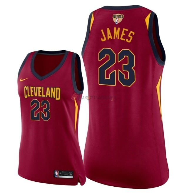 Hot- Maglia NBA Donna Cleveland Cavaliers 2018 Campionato Finali NO.23 LeBron James Rosso Icon Patch