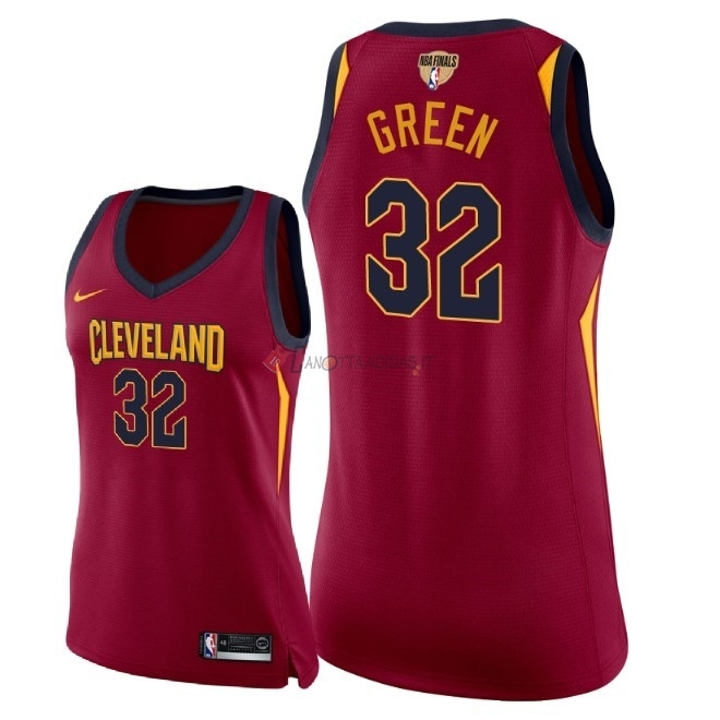 Hot- Maglia NBA Donna Cleveland Cavaliers 2018 Campionato Finali NO.32 Jeff Green Rosso Icon Patch