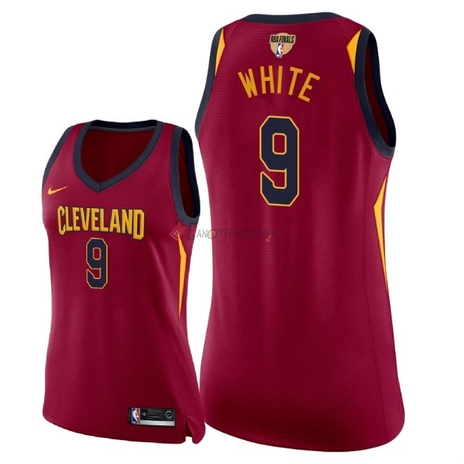 Hot- Maglia NBA Donna Cleveland Cavaliers 2018 Campionato Finali NO.9 Okaro White Rosso Icon Patch