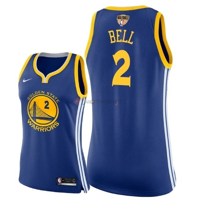 Hot- Maglia NBA Donna Golden State Warriors 2018 Campionato Finali NO.2 Jordan Bell Blu Icon Patch