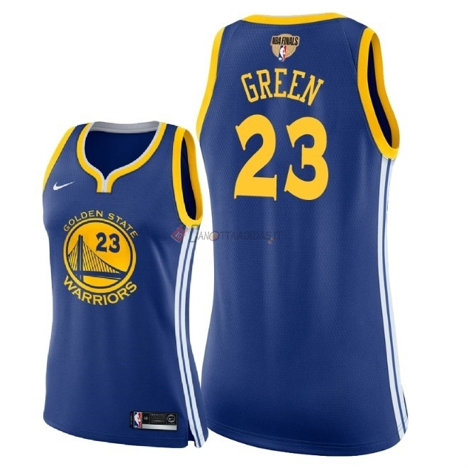 Hot- Maglia NBA Donna Golden State Warriors 2018 Campionato Finali NO.23 Draymond Green Blu Icon Patch