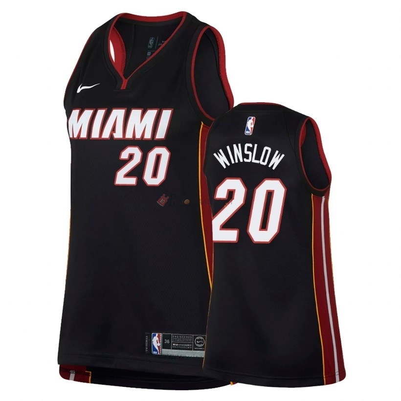 Hot- Maglia NBA Donna Miami Heat NO.20 Justise Winslow Nero Icon 2018