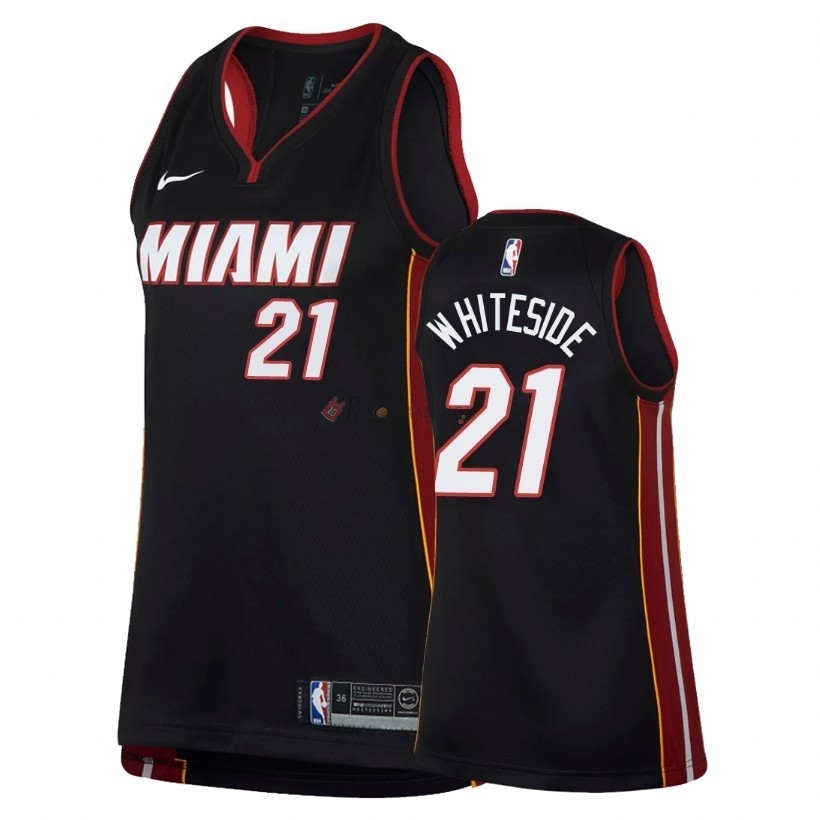 Hot- Maglia NBA Donna Miami Heat NO.21 Hassan Whiteside Nero Icon 2018